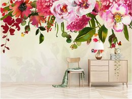 hand painted garden Promo Codes - 3d room wallpaper custom photo mural Nordic garden flowers beautiful hand painted background wall wallpaper for walls 3 d