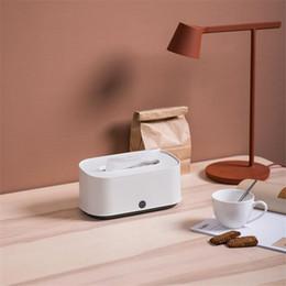 caja de almacenamiento gris Rebajas 2019 Hot Grey And White Caja de pañuelos creativos para el hogar Casa de múltiples funciones en la mesa de café Caja de almacenamiento Bandeja de papel para toallas