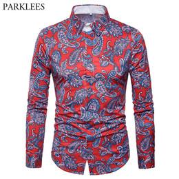2019 пейсли принт рубашки мужские Mens Hipster Paisley Floral Print Shirts 2019  New Slim Fit Red Dress Shirt Men Casual Streetwear Social Chemise Homme Tops дешево пейсли принт рубашки мужские
