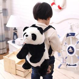 2020 mochilas de panda 32 cm Panda Mochila Niñas Niños Felpa Ajustable Mochilas escolares Bolsa de Animales de Peluche de Kindergarten Mochila de Peluche Juguetes Regalo de los niños rebajas mochilas de panda