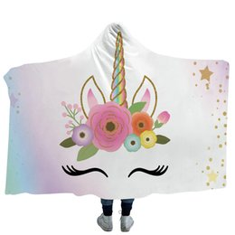 Ali angeliche colorate online-Unicorn Serials Coperta con cappuccio Angel Wings Sherpa Fleece Wearable Blanket con cappello Colorful Home Textiles for Sofa