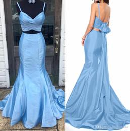Due pezzi promenade per gli adolescenti online-Blue Mermaid Due pezzi lunghi Prom Dresses V Neck cinghie Archi Taffetà Teens Fit 2k18 Vestito da promenade Vestito da sera formale Vestito Custom Made