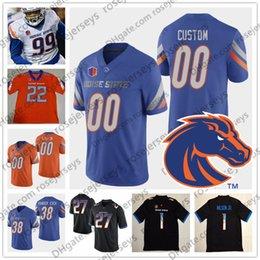 2019 m cordon Personnalisé Boise State Broncos 2019 Football NCAA N'importe quel numéro Numéro Blanc Orange Noir Bleu 10 Chasse Cord 19 Hank Bachmeier Vander Esch Jersey m cordon pas cher