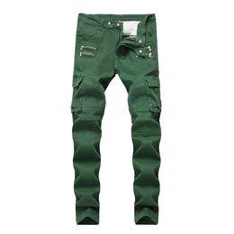 falten-jeans Rabatt Die Jeans der geknitterten dünnen mittleren Taillen-Männer Army Green Pockets Mens Straight Jeans With Zipper Fashion Male Apparel
