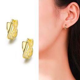 pendientes de oro bebes Rebajas Cute 925 Sterling Silver Gold Color Mobius Circles Small Loop Huggie Hoop Earrings para mujeres niños bebé niño niñas joyería
