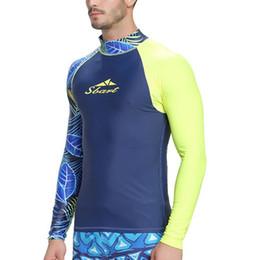Swimwear uv online-Maglietta da uomo Maglietta a maniche lunghe T-shirt da bagno Costumi da bagno Wakeboard Floatsuit Tops UV Snorkeling protettivo Immersioni Nuoto Surfing