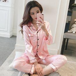 2020 4xl plus size sleepwear Pijamas de cetim de seda das mulheres pijamas conjunto manga longa sleepwear pijama donna feminino casa desgaste da noite terno de noite sexy pijama femme plus size 4xl plus size sleepwear barato