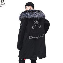 парковые окопы Скидка Зима теплая куртка мужчины толстый бархат теплые куртки парки hombre мужская куртка с капюшоном длинный плащ размер США XS-XL
