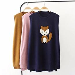 Jersey de zorro de tejer online-Animales de dibujos animados Chaleco de punto largo para las mujeres de gran tamaño O-cuello suéter Pullover Kawaii Fox sin mangas de punto chaleco