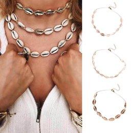 Ciondolo regolabile online-Monili delle donne Shell Collana pendente del Seashell regolabile Cord Bib collare Il nuovo modo di colore oro Shell Beach Donne Collana