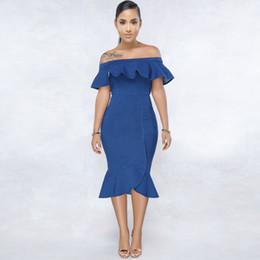Sexy schultertaschen online-Kleid Sommer 2019 heiße Art sexy enge Tasche Hip Volant Schulter Kleid sexy Jeans Sonderverkäufe