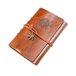 Cuaderno pirata online-Retro Vintage Pirate Anchor PU Cover Cadena de hojas sueltas encuadernada Cuaderno en blanco Bloc de notas Diario de viaje Diario Jotter Regalo