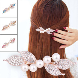 alo fiore all'ingrosso Sconti New Chic Fashion Girls Women Hairpin Accessori per capelli Clip di capelli Perla Strass Crystal Clip Pro Regalo fidanzata