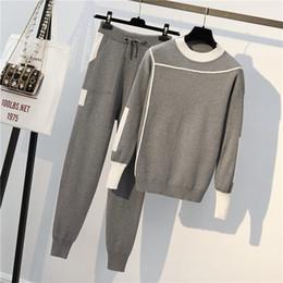 Traje de pantalón de moda online-Conjunto de 2 piezas de otoño Suéteres de punto Suéter Casual Raya Punto Jumper Tops y pantalones Trajes Chándales de manga larga de moda