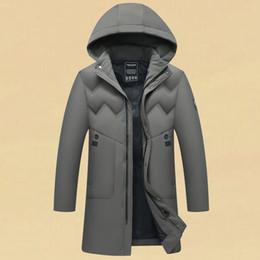 Geschäft casual daunenjacke online-Mens Winterjacke Beiläufiges Geschäft mit Kapuze langen Daunenjacke beiläufige Art und Weise Outwear warme Kleidung verdicken doudoune homme XL-5XL