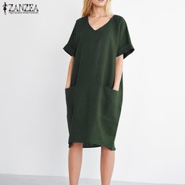 d1da269d51 2018 ZANZEA Summer Women V Neck Short Sleeve Pockets Loose Solid Shirt  Vestido Casual Elegant Cotton Linen Work Dress Plus Size Y19012102