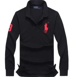 Поло длинный рукав онлайн-2019 Рубашки поло Твердые мужские рубашки поло с длинным рукавом мужские базовые топ хлопка поло для мальчиков дизайнер Polo Homme