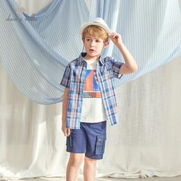 Argentina DKH13255 Dave bella 5Y-13Y los bebés del verano camisas de manga corta a cuadros bolsillos niños ropa para niños Boutique Suministro