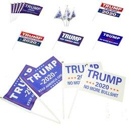 ленточные баннеры Скидка Новый Ручной Трамп Флаг 14 * 21 см Мини 2020 Держите Америку Большие Флаги Полиэстер Баннер Палку Флаги 6014