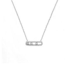 maillons de collier rond en bronze Promotion France La vraie mode 925 Fashion Bracelet en argent sterling Collier avec trois pierres Déplacé cz pour les femmes Bijoux Collier