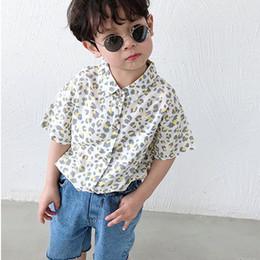 2020 cópia nova do estilo do menino Camisas de New Style Crianças Boy Casual moda infantil fina camisa de manga curta leopardo impresso Meninos Tops para 2-7Y BC100 desconto cópia nova do estilo do menino