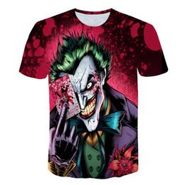 2019 cara de diseño de la camiseta Horror gótico Media cara Camiseta divertida Magia Cartas Personaje Diseño de ropa 3d camiseta Imprimir Poker camisetas digitales Zombie rebajas cara de diseño de la camiseta