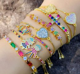 gioielli di pallavolo all'ingrosso Sconti cubic zirconia colorful bracelet golden adjustable chain bracelet brazilian gold jewelry wholesale beach volleyball bracelet free shipment