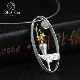 Diseño de jarrón hecho a mano online-Lotus diversión real 925 Moonstone natural hecho a mano joyería fina del florero colgante del diseño sin collar para la Mujer
