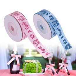 Partybevorzugungen babypartyjunge online-10 Yards / Roll ES IST EIN JUNGE / MÄDCHEN Satinbänder Bevorzugungen Band für Kinder Baby Birthday Party Supplies Baby Shower Dekoration