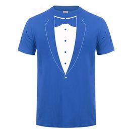 2019 corti tuxedo t-shirt Tuxedo con tuta cravatta Bachelor Party Funny T Shirt Tshirt Uomo Casual girocollo in cotone a maniche corte T-shirt Summer Tops Tee corti tuxedo t-shirt economici