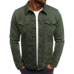 giacca bomber verde khaki Sconti 2019 Mens Designer Jacket New Casual Mens Denim Jacket Slim lavoro colore solido Coat Moda Mens giacca di alta qualità