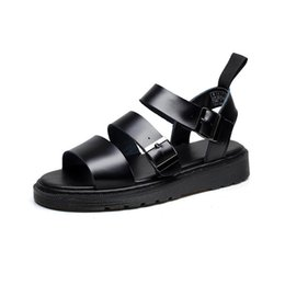 6e1e8fa9 2019 sandalias negras de plataforma Cuero genuino de las mujeres Sandalias  Gladiador Zapatos de verano 2019