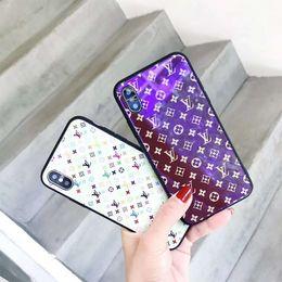 Canada Une pièce de mode Designer de luxe violet téléphone cas cas de téléphone en verre pour iPhone XR XS MAX 6 S 7 8 Plus TPU mode Chic couverture arrière cheap iphone chic Offre