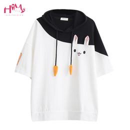 Japanische kaninchen online-Japanisches Harajuku weibliches reizendes rosa Kaninchen-T-Shirts nettes Karotten-Kurzschluss-Hülsen-Anime-Häschen-T-Stück übersteigt Mori Mädchen Kawaii T-Shirt Q190523