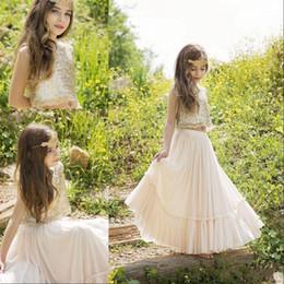 2019 vestiti di lunghezza grigia chiara della caviglia Abiti da ragazza di fiore modesti in due pezzi per matrimoni 2020 Gioiello con paillettes A line Abiti da spettacolo per prima comunione da bambina lunga