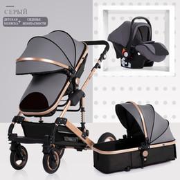 Cochecitos de bebé online-Cochecito de bebé 3 en 1 cochecito de bebé neonatal cochecito del paisaje alto cuatro temporadas cochecito plegable amortiguador