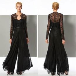 Cerimonia nuziale nera online-Black Lace elegante tuta madre della sposa Pant Abiti Sweetheart collo con giacche plus size abito madri sposo Abiti da sera