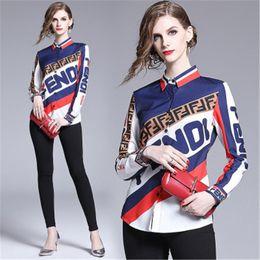 Canada Femmes Mode style décontracté Blouses dames à manches longues imprimés Lettre Chemises européenne souple marque populaire Blouses Livraison gratuite Offre