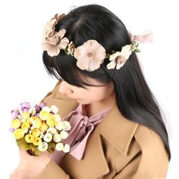 Kadınlar Gelin Çiçekler Kafa Bohem Stili Gül Çiçek Taç Hairband Bayanlar Plaj Düğün Saç Aksesuarları cheap hair accessories for beach wedding nereden plaj düğün için saç aksesuarları tedarikçiler