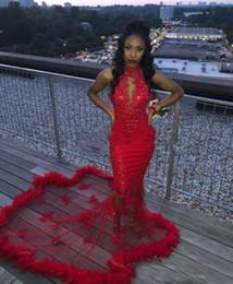 Rote schiere sehen durch kleid online-Red African 2K19 Mermaid Prom Dresses Feder Pailletten Sexy Mermaid Abendkleid Zählen Zug Durchsichtig Backless Cocktail Party Kleider