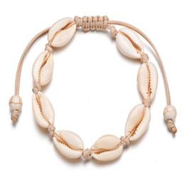 Piede del braccialetto online-Cowrie Beads Shell cavigliera braccialetto fatto a mano gioielli piede spiaggia stile hawaiano giamaicano regolabile per le donne unisex