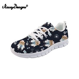 Chaussures plates imprimées pour animaux pour femmes en Ligne-Noiydesigns Flat Sneakers Femmes Mignon Dessin Animé Infirmière Modèle Appartements Pour Femmes Dames Filles Ours Imprimer Léger Mesh Walk Chaussures