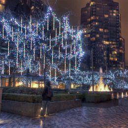 Le luci del ghiaccio impermeabilizzano online-Luce meteorica a LED, stringa di luce esterna, luce da giardino impermeabile 30 cm 8 tubi fiocchi di neve che cadono ghiaccioli ghiaccioli che impilano le luci
