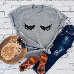 Frauen wimpern t-shirts online-Mode Neue Sommer Frauen T-shirt Wimpern Make-Up Wimpern Mascara Lustiges T-stück Mode Brunch Shirt Unisex Geschenk T-shirt
