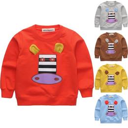 Chicos y chicas camisetas Camisetas de manga larga de algodón coreano Tops Patrón de dibujos animados Camiseta animal para niños Ropa infantil desde fabricantes