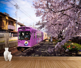 cherry blossom murals Coupons - Train cherry blossom TV background wall mural 3d wallpaper 3d wall papers for tv backdrop
