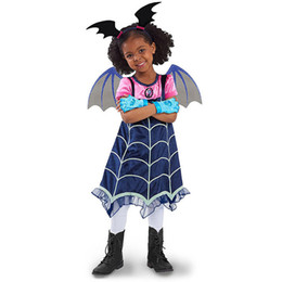 baby props princess set Promo Codes - Baby Girls Princess Dress Halloween Theme Cosplay Clothes Toddler Girls Vampire Bat Skirt Set Stitched Striped Stage Show Props Costume 06