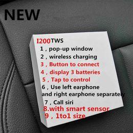 Bluetooth batteriekopfhörer online-NEU Air 2 Kopfhörer i200 TWS Bluetooth Mit Sensor W1 Chip Pop-up Echte Batterie Kapazität Drahtloses Headset Ohrhörer vs i20 i30 i60 i80 i100 tws