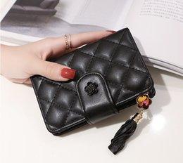2019 détenteur de chèques d'entreprise Nouveau gland femmes PU portefeuilles en cuir designer mode de la mode courte sacs à main femme embrayages occasionnels noir / rose couleur no130