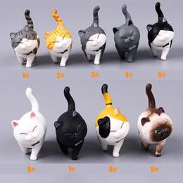 Cats miniature online-Figurina di gatto che gioca figure di azione del gatto Giocattoli di bambola Miniatura realistica di gattino Decorazione animale mini fairy Garden Cartoon Car Decorative